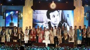 CM Mamata Banerjee and Mahanayak awardee Actor Aparna Sen , Paran Bandhyapadhyay along with other awardee , intelectulas , vetaran actor and minister Indranil Sen at a programme in Kolkata on Tuesday,July 24,2018.Express photo by Partha Paul.