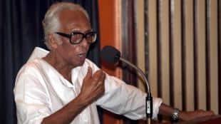 Veteran filmmaker Mrinal Sen addresses at Nandan during a function on occation of Sen's 90th birthday in Kolkata on Monday. Express Photo by Partha Pul