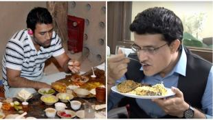 Sourav Ganguly and MS Dhoni eating