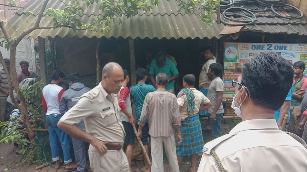 A monkey trapped by forest workers at kolaghat