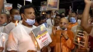 ISKCON Kolkata sings 'bhajan' and protests outside Deputy Bangladesh High Commission