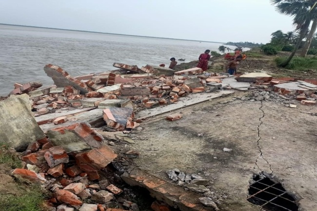 School building is collapse down at hooghly river in ghoramara island